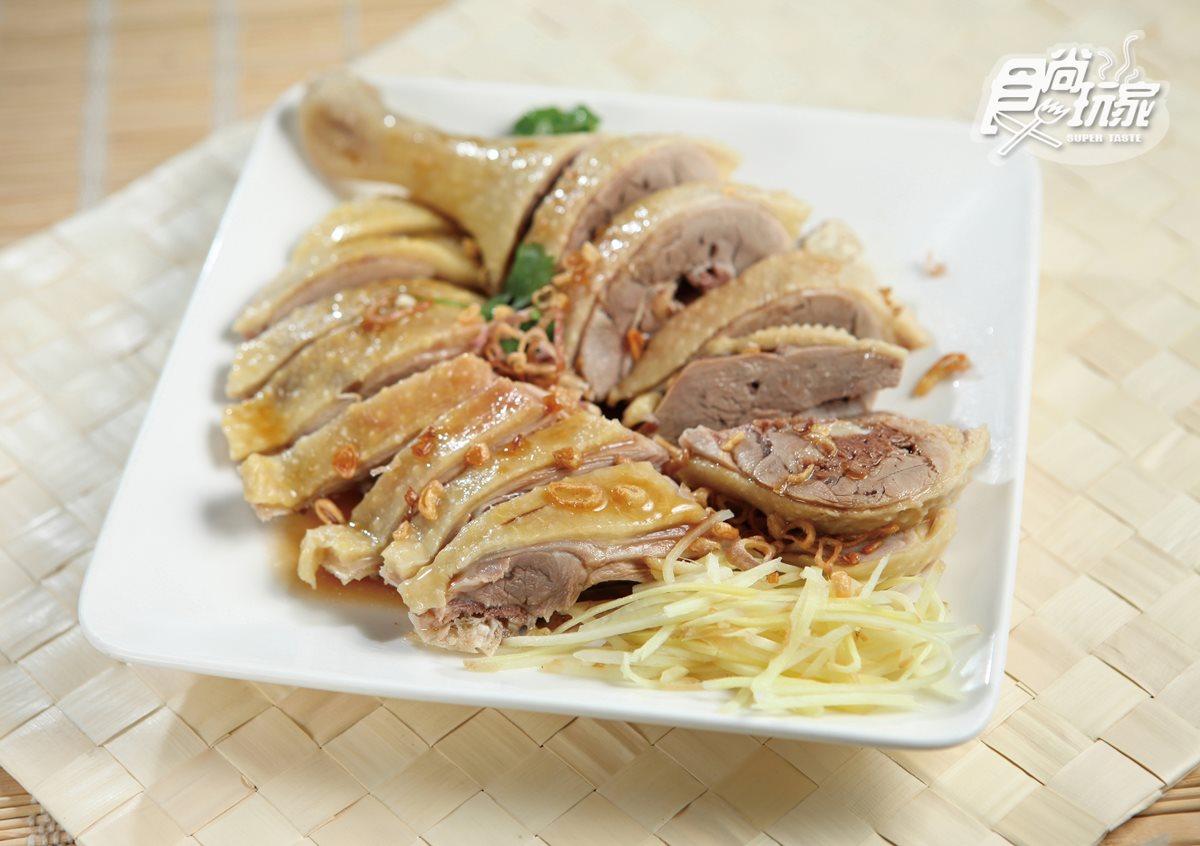 合鴨米灶腳,店裡使用成長約80天的放田鴨,肉質特別甘甜多汁。