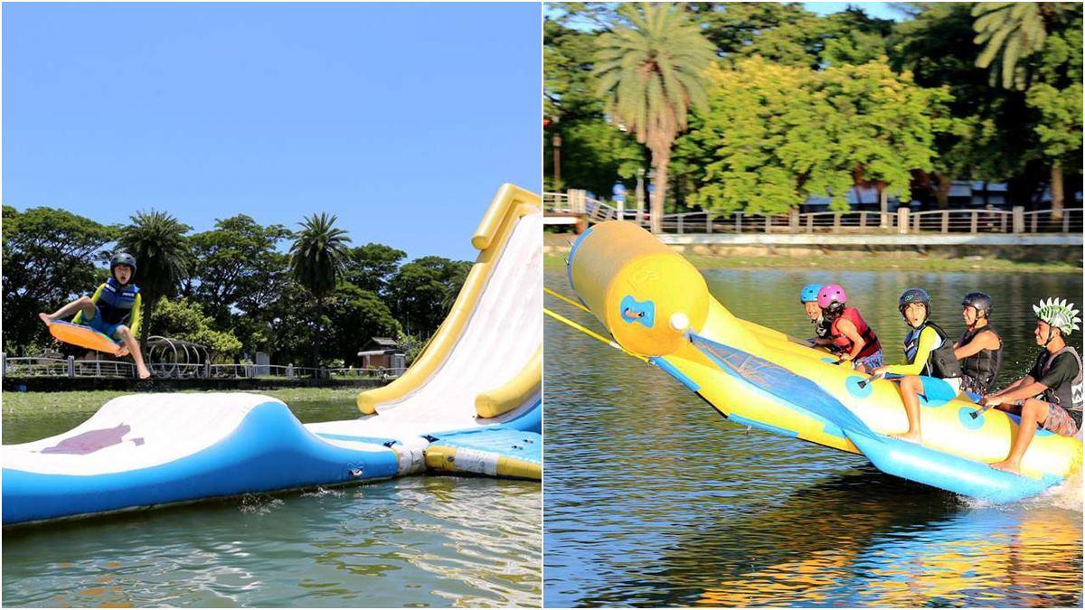 飛起來了!高雄親子來玩水,巨型氣墊滑梯水上彈跳超嗨,還可玩SUP、滑水板