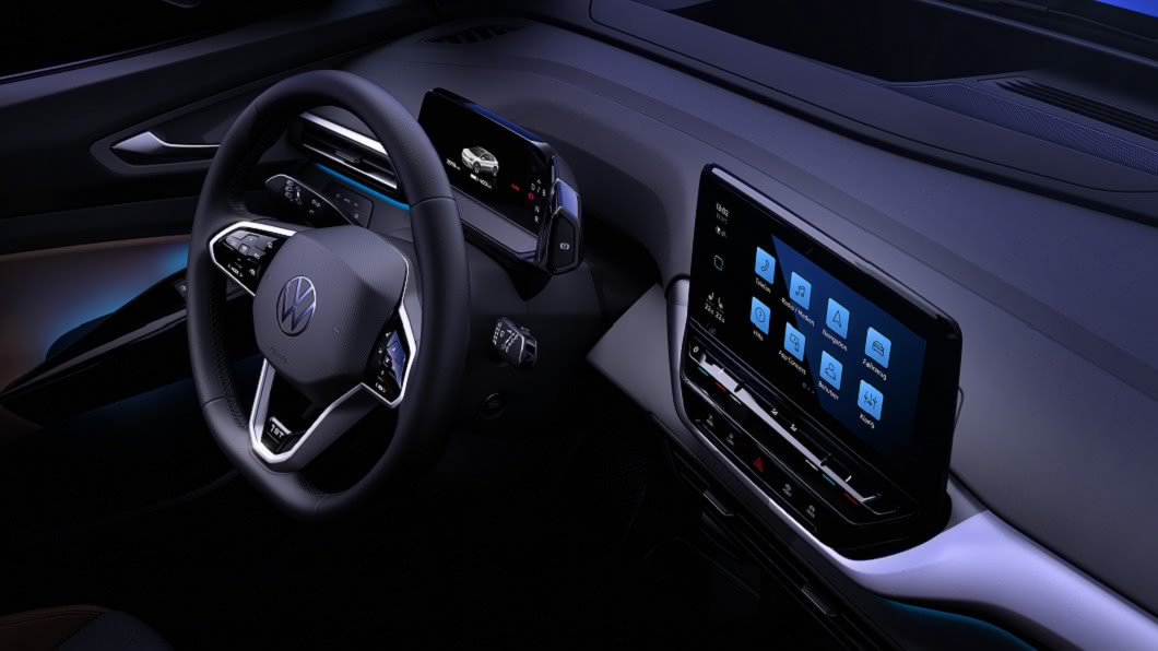 ID.4內裝曝光,採用大尺寸中控螢幕營造科技氛圍。(圖片來源/ Volkswagen) 有大螢幕才夠看 VW ID.4電動休旅曝光科技內裝