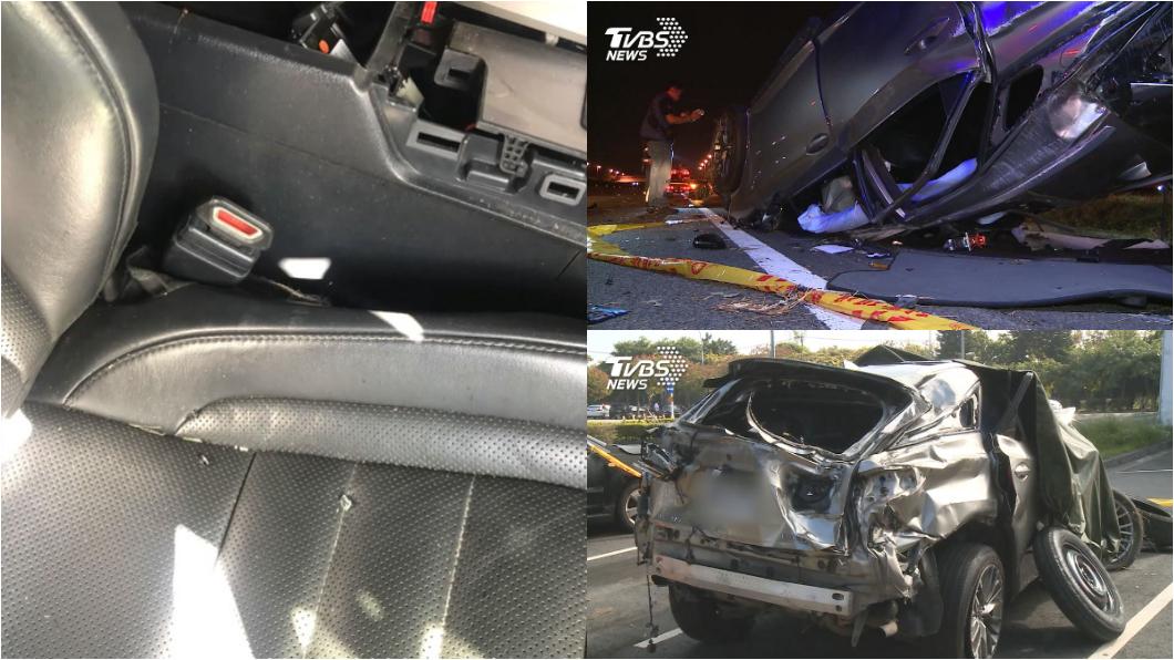 國道翻車4死意外除駕駛酒駕之外,全車未繫安全帶亦是造成嚴重傷亡主因。(圖片來源/ TVBS) 酒駕與未繫安全帶釀4死 安全帶插扣更是害命風險