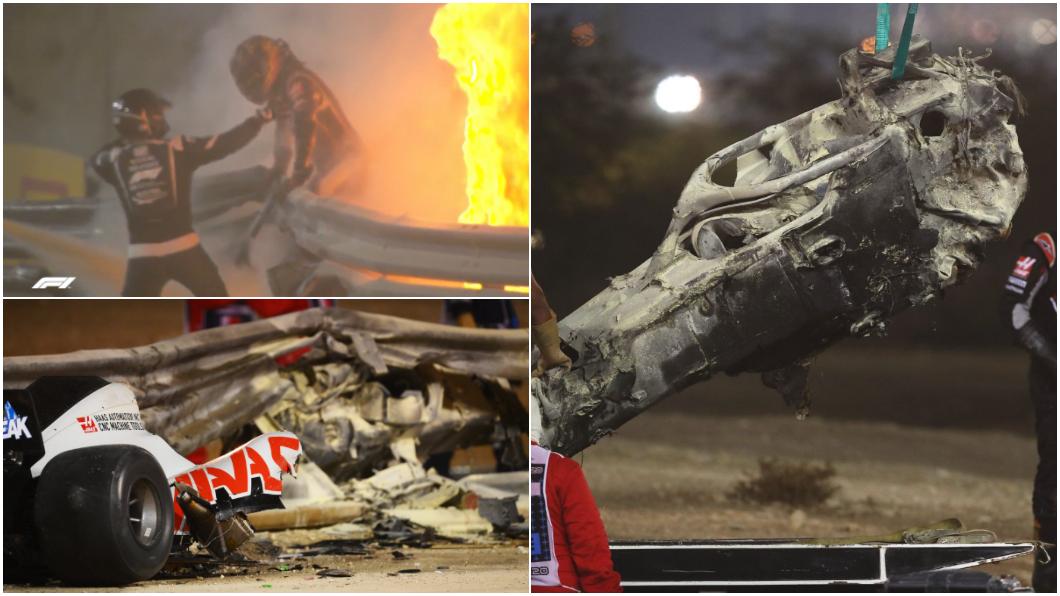 2018年起導入F1賽事的Halo裝置保護法國籍車手Romain Grosjean於嚴重事故中僅受輕傷。(圖片來源/ F1.com) 時速兩百公里撞穿護欄又成火球 F1車手無恙全賴Halo