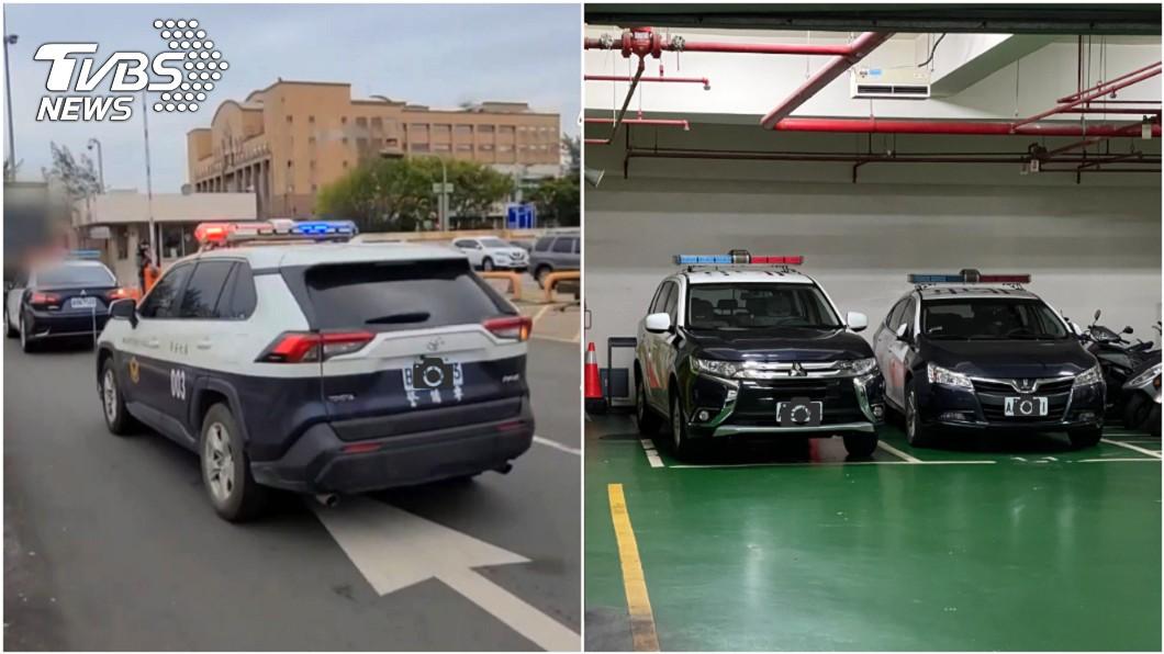 航警局疫苗護送車隊出現一輛雙層配色警車,視覺上比傳統警車配色更吸睛。(圖片來源/ TVBS) 警車這樣配色更好看 雙層搭配不只霸氣更吸睛