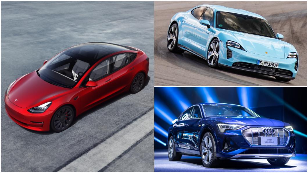 3月份臺灣汽車市場掛牌數字出爐。(圖片來源/ Audi、Porsche、Tesla) Model 3穩坐電動車銷售龍頭 Taycan竄升第二