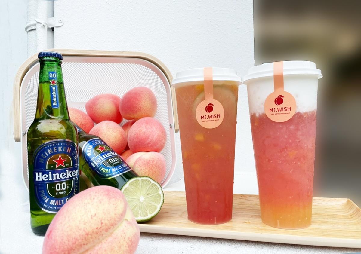 超仙氣蜜桃手搖飲上市!Mr.Wish夏日2款蜜桃新品太誘人,免費再送「海尼根零酒精啤酒」