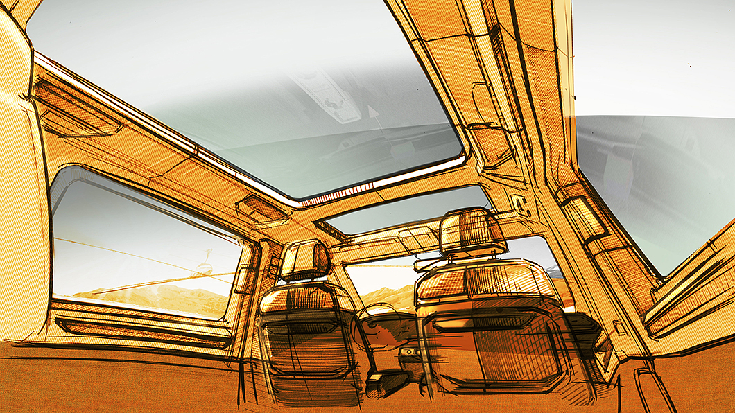 T7 Multivan座艙設計圖曝光,實車有望上半年曝光。(圖片來源/ VWCV) T7 Multivan將導入全景天窗 座椅變化還會更自由