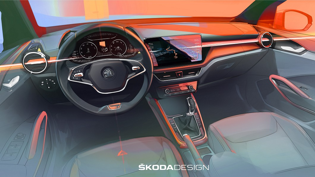 Škoda公佈新世代Fabia內裝設計樣貌。(圖片來源/ Škoda) Fabia升級大尺寸觸控螢幕 預告下星期完整亮相