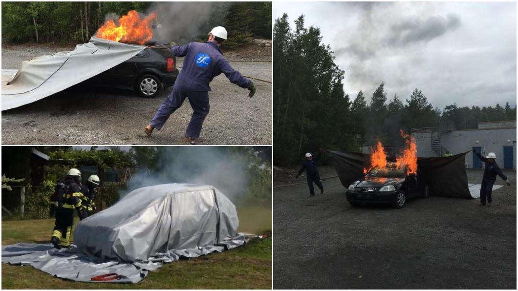挪威滅火毯製造商Bridgehill推出車用滅火毯。(圖片來源/ Bridgehill) 滅火毯專剋火燒車 滅火不用水連電動車都可以