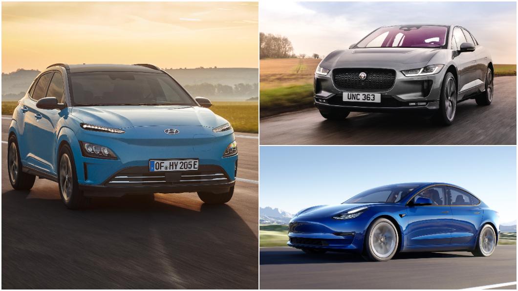 英國汽車媒體《What Car?》公佈電動車續航力實測排行。(圖片來源/ Hyundai、Jaguar、Tesla) 英媒實測電動車續航力 冠軍預計第二季末在臺上市