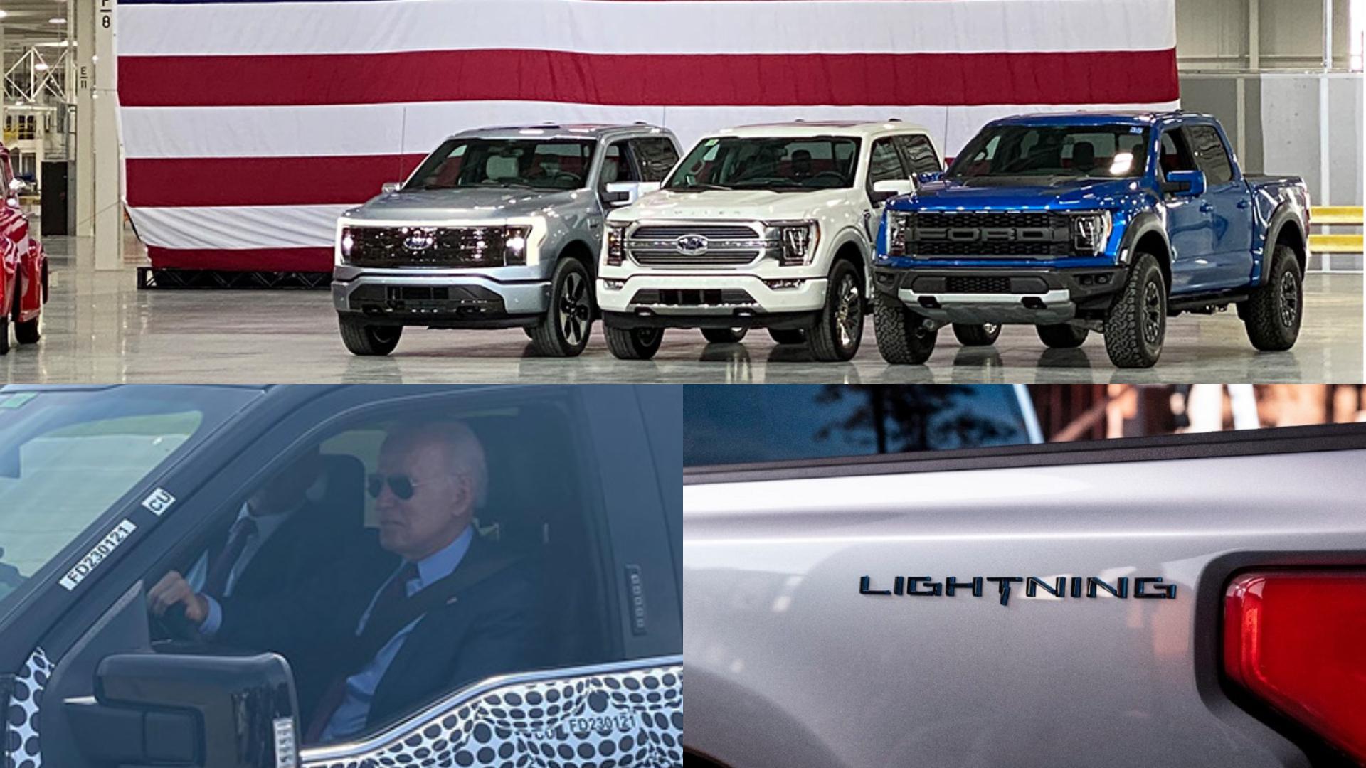 美國總統拜登試駕還沒發表的Ford F150 Lightning。(圖片來源/ 截自Mike Levine推特) 被美國總統「認證」的快車! 拜登搶先試電動F150 Lightning