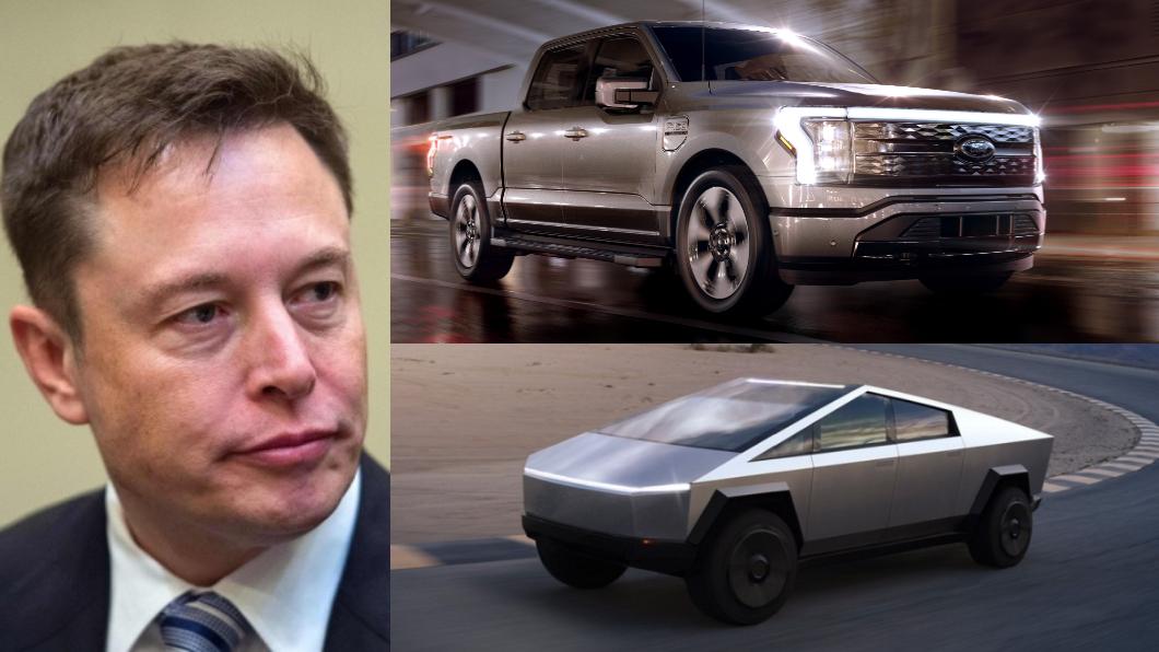 Tesla在Ford F150 Lightning發表前通知Cybertruck買家即將生產。(圖片來源/ Tesla、Ford) 電動化F150發表特斯拉急了? 宣布Cybertruck即將量產