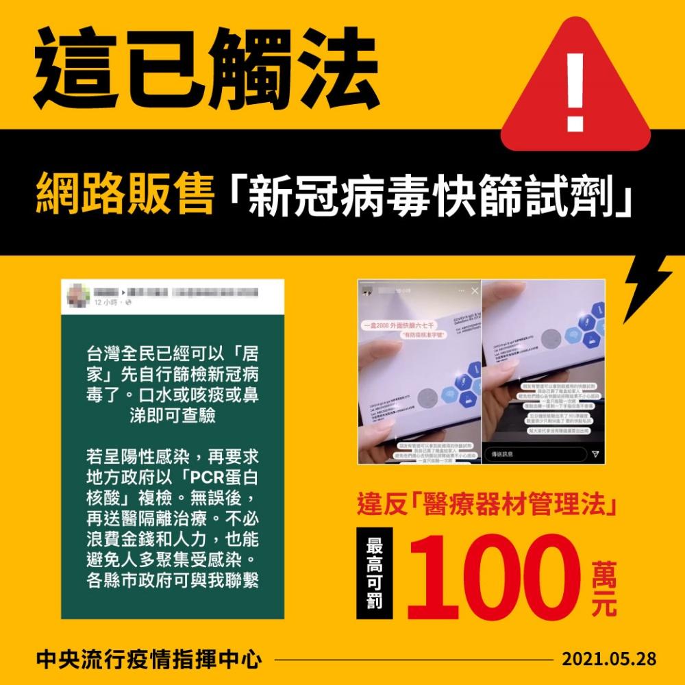 網路賣「新冠快篩試劑」最高罰100萬 指揮中心呼籲「勿自行檢測」