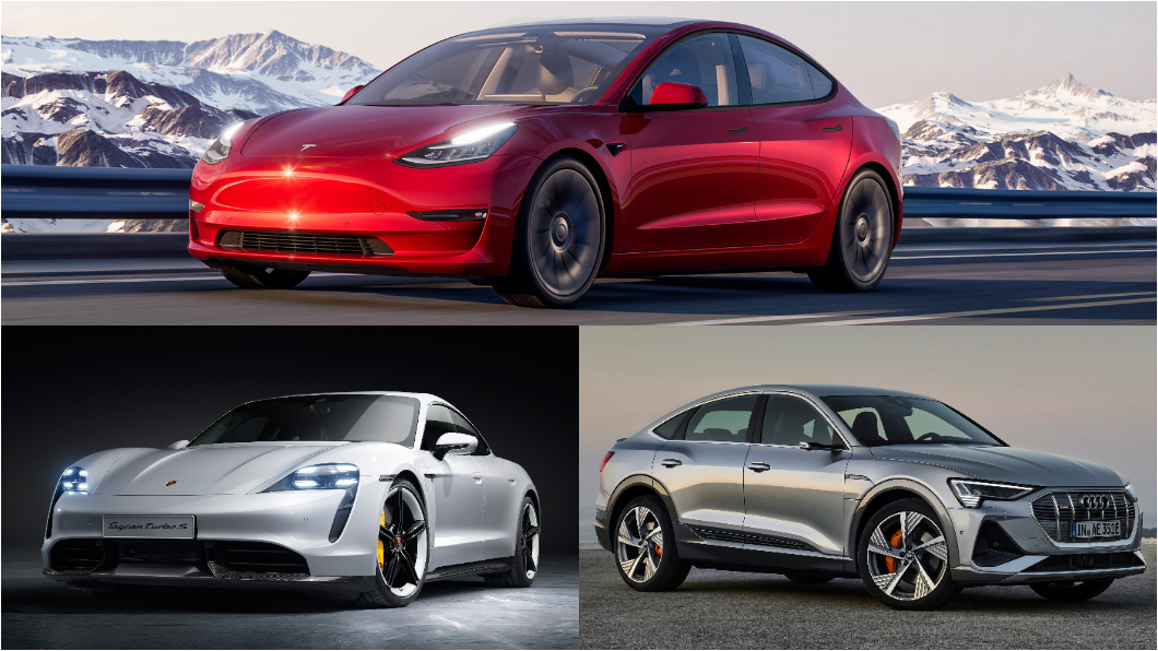 Model 3重返電動車掛牌數月冠軍。(圖片來源/ Audi、Porsche、Tesla) 【銷售戰報】Model 3海量新車到港 5月重返電動車掛牌數冠軍