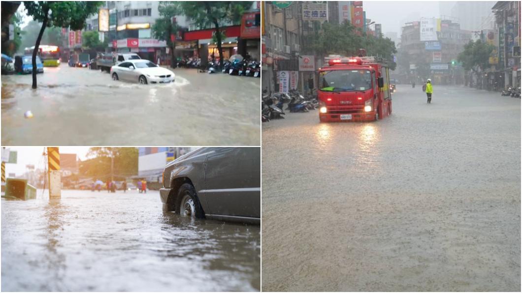 開車遇到大雨積水或淹水該怎麼辦? (圖片來源/ TVBS、shutterstock達志影像) 雨炸北市多處積淹水 開車遇淹水4招保平安