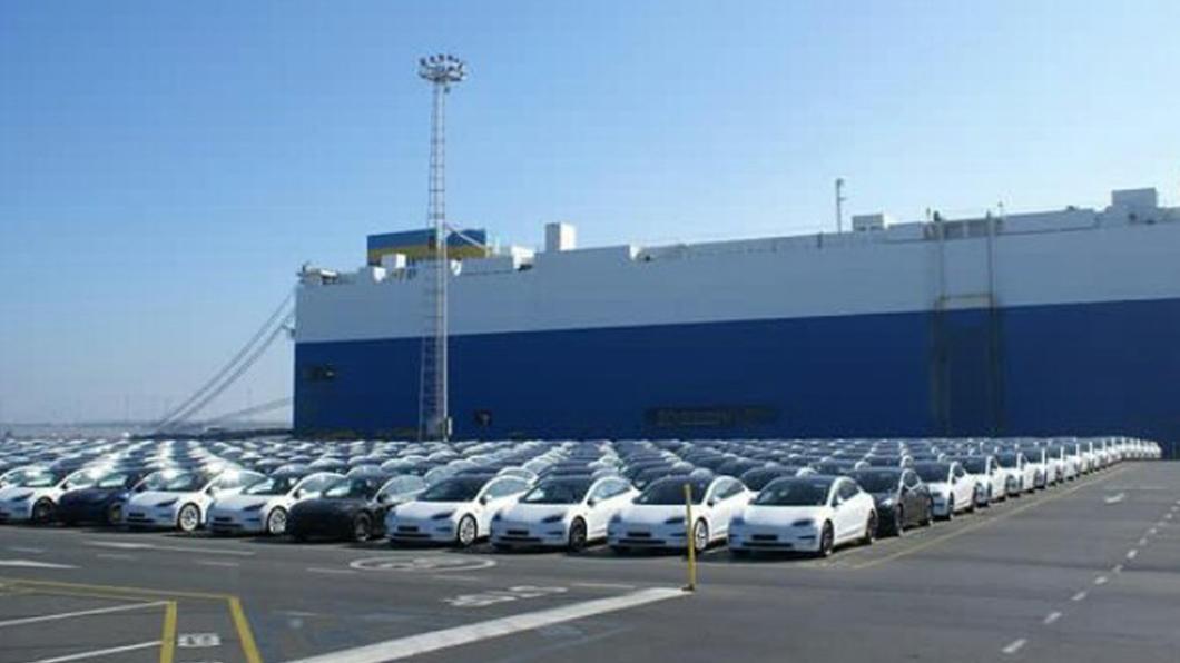網友於比利時港口目擊數量眾多Tesla下船進港。(圖片來源/ 截自推特) 特斯拉全力衝刺歐洲市場銷量? 比利時港口捕獲Tesla大軍