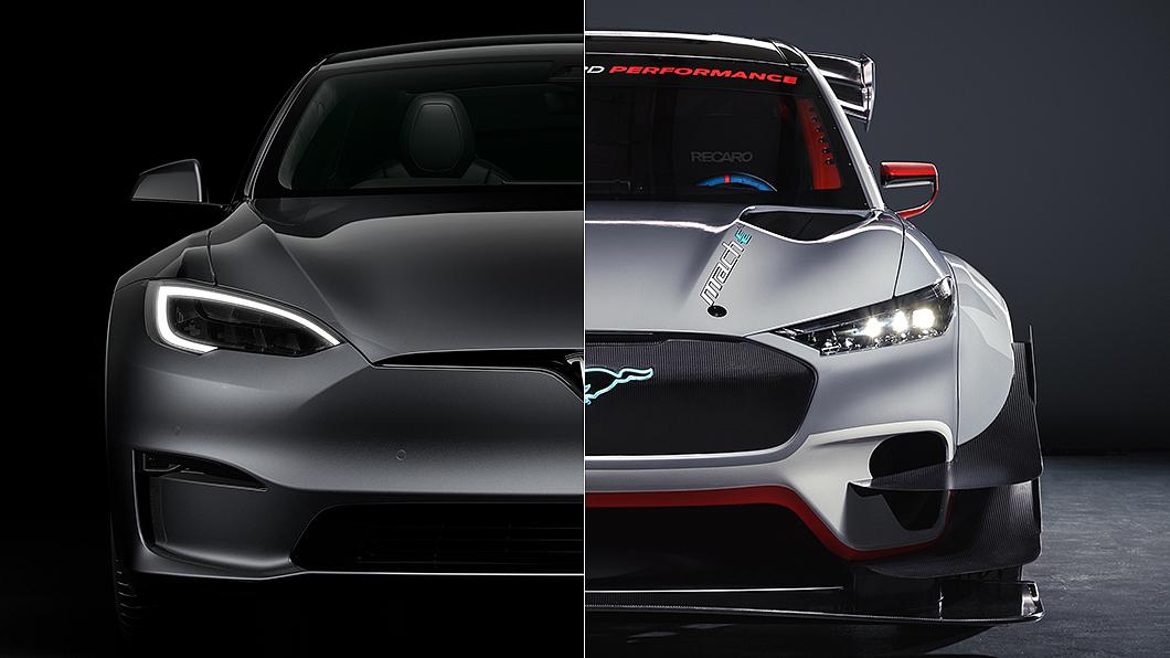 Mustang Mach-E 1400有望與Model S Plaid來場正面對決,角逐美系最速電動車頭銜。(圖片來源/ Ford、Tesla) 野馬Mach-E與Model S Plaid誰快? 千匹馬力電動車有望正面交鋒
