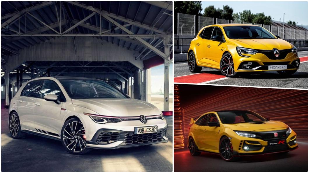 Golf GTI Clubsport、Megane R.S.以及Civic Type R皆是擁有300hp以上的性能鋼砲。(圖片來源/ Honda、VW、Renault) 8代Golf GTI夠快嗎? 福斯、本田、雷諾性能鋼砲大PK