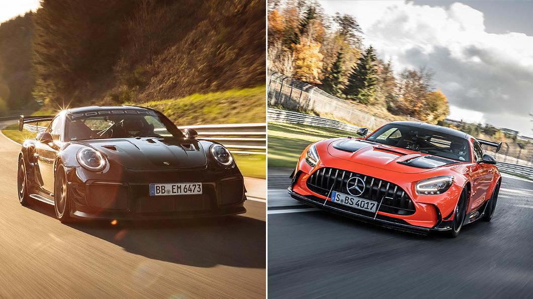 Mercedes-AMG雖然發文祝賀Porsche再次拿下Nürburgring北賽道最速紀錄,卻暗暗酸了911 GT2 RS一筆。(圖片來源/ Porsche、Mercedes-Benz) M-AMG GT黑系列紀錄被破展君子風度? 祝賀貼文暗酸911 GT2 RS不純