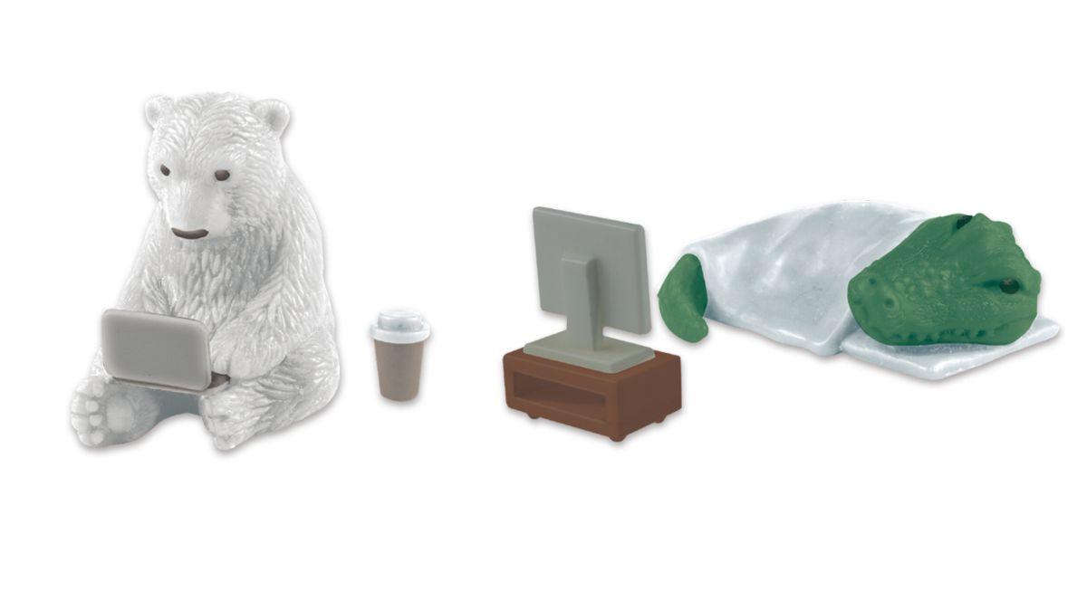 北極熊、無尾熊化身防疫阿宅!日本推4款「居家動物」扭蛋,吃泡麵、玩電動超寫實還原