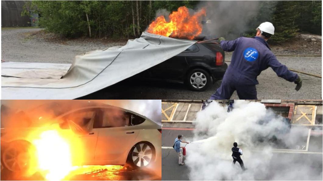 電動火燒車若以水滅火需要大量水資源與時間,可以選擇用滅火毯來撲滅火勢。(圖片來源/ TVBS、Bridgehill) 台南特斯拉火燒車動用6水車 消防局買滅火神器不怕電動車發爐