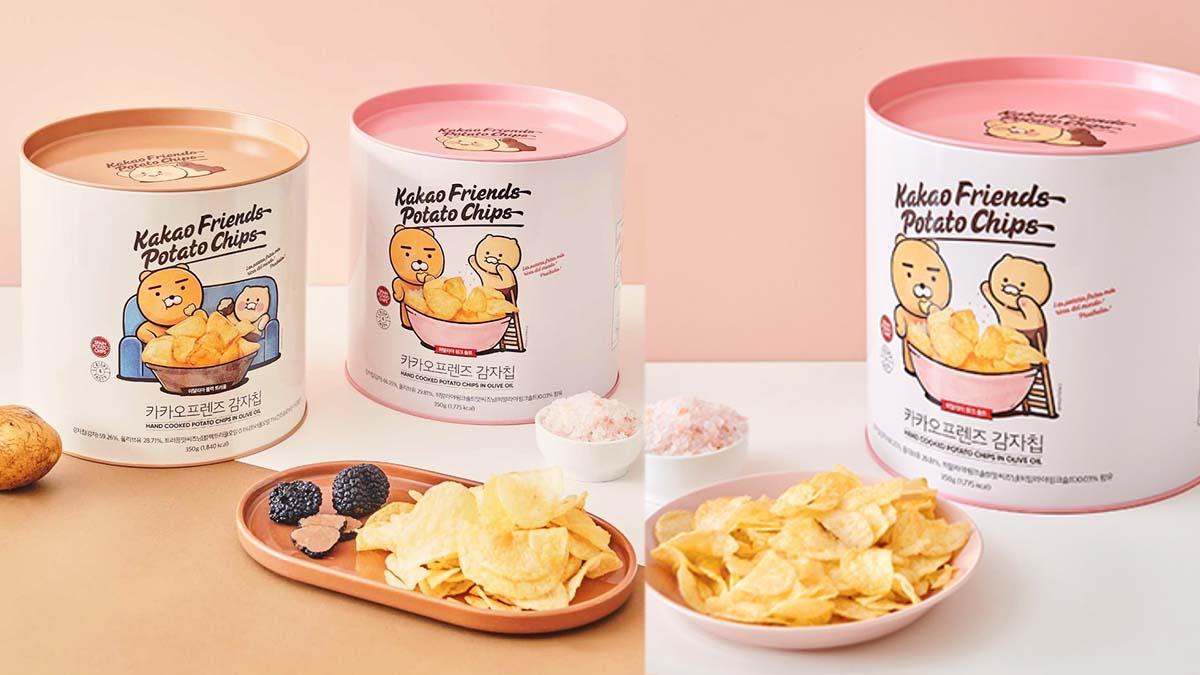 萊恩陪你追劇嗑零食!Kakao Friends推「油漆桶洋芋片」,粉紅鹽、黑松露口味超唰嘴