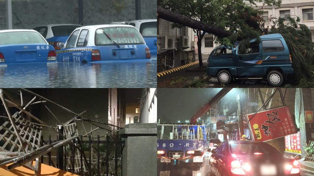 颱風天愛車可能受到泡水、強風吹落的路樹或物品砸傷。(圖片來源/ TVBS) 颱風泡水甲式全險也不賠! 手刀加保這個險才不怕璨樹做亂