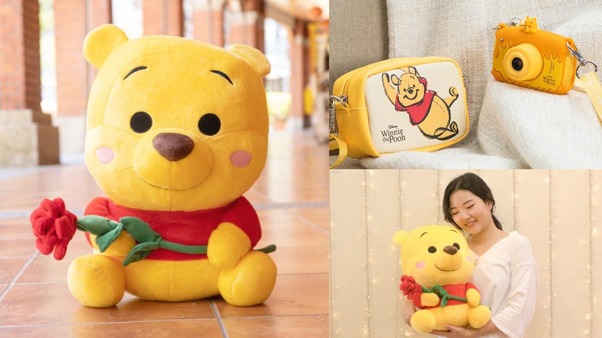 抱緊處理了!7-11獨賣超浪漫「雙手捧玫瑰維尼玩偶」,還有蜂蜜維尼款「相機+專屬包」