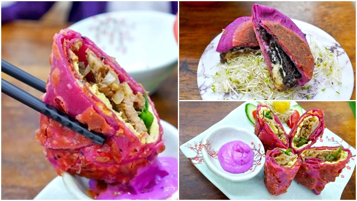 隱藏版超吸睛小吃!打卡必點粉紫色「火龍果捲餅」,爆漿漂漂包邪惡度破表