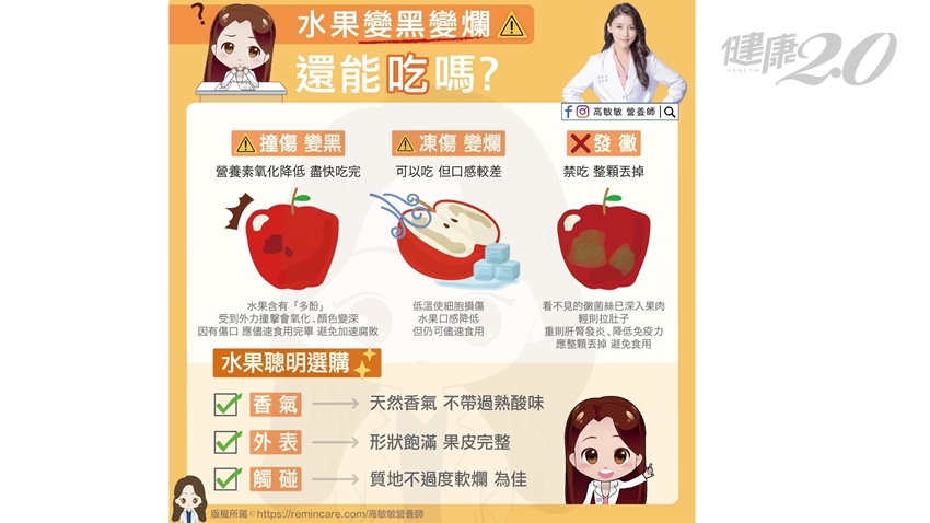 水果變黑爛了還能吃?營養師3點解析,吃水果5大正確觀念