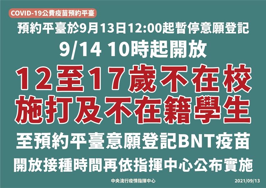 明起預約登記BNT疫苗!12~17歲不在校施打、不在籍學生優先
