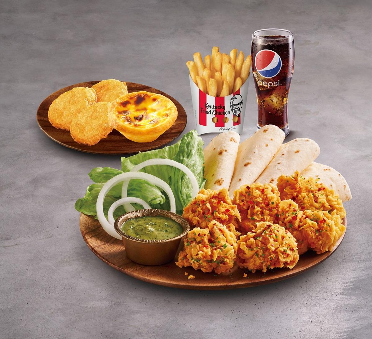 肯德基最新「綠咖哩無骨脆雞自捲餅」!生菜包肉混搭吃法,還能吃雞塊、蛋撻