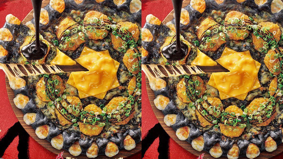 必勝客最新「蒜香黑咖哩豬排比薩」!任選所有口味都能吃「黑色系打卡餅皮」