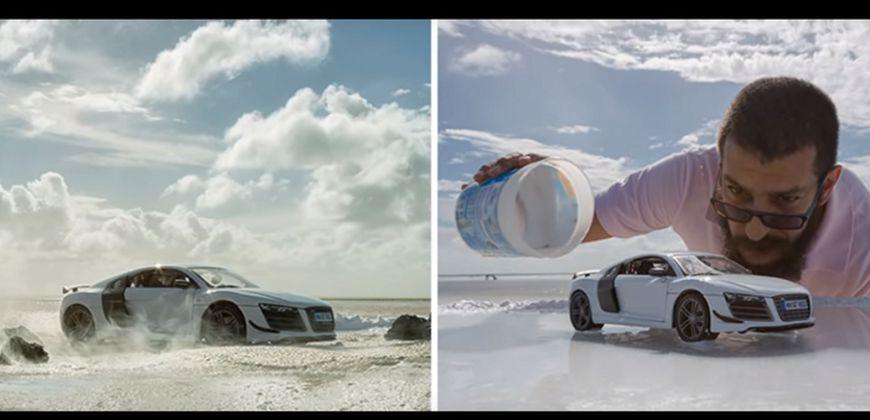 圖/YouTubeBEBO SPORT 千萬超級跑車 平面廣告用千元模型車拍