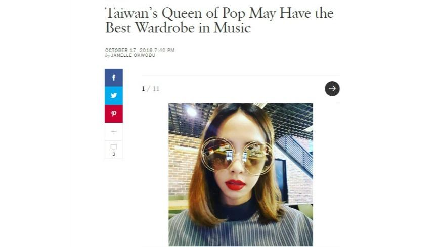 美國雜誌大讚,蔡依林JOLIN是媲美Lady Gaga和瑪丹娜Madonna的台灣流行音樂天后,更大讚她的穿衣品味。 高衣Q!美雜誌認證 呸姐走在時尚尖端