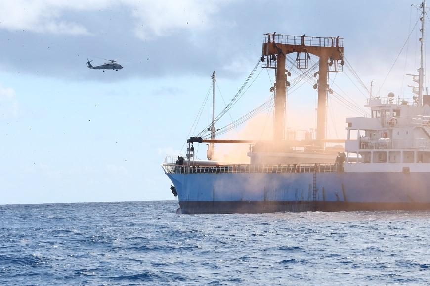 在國安會主導下,海巡署29日完成太平島操演,展現台灣於南海區域的人道救援能量。圖/軍聞社 國安會主導 海巡署完成太平島操演