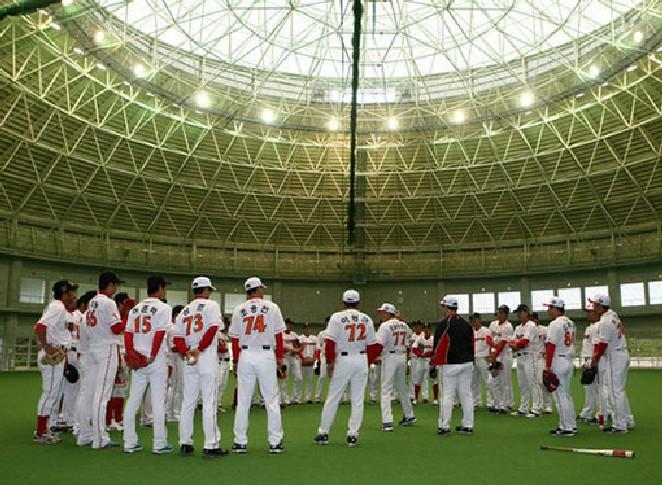 沖繩具志川球場是SK飛龍春訓使用場地。圖/SK飛龍提供 WBC韓國隊沖繩訓練場地 SK讓給國家用