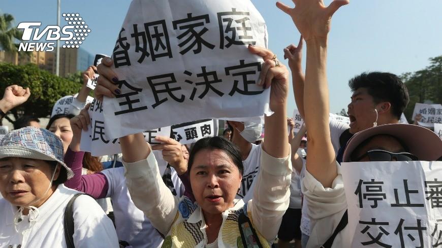 圖/中央社 同婚法初審過 反同團體不排除發起公投