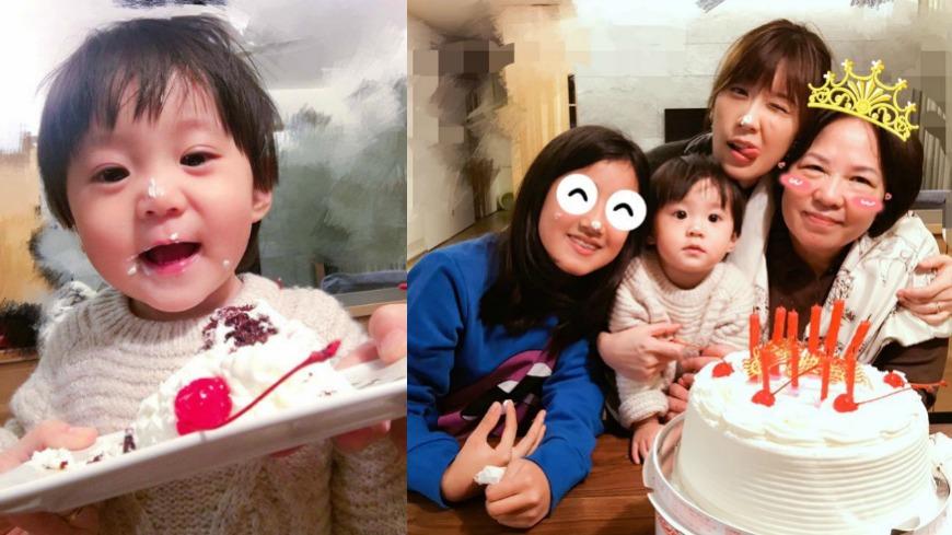 取自/賈靜雯臉書 賈靜雯替媽慶生 咘咘蛋糕吃滿臉意外成亮點