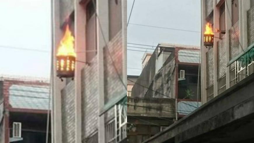 翻攝自/爆料公社 這樣太危險!3樓住家半空燒紙錢 網友:離天公更近?