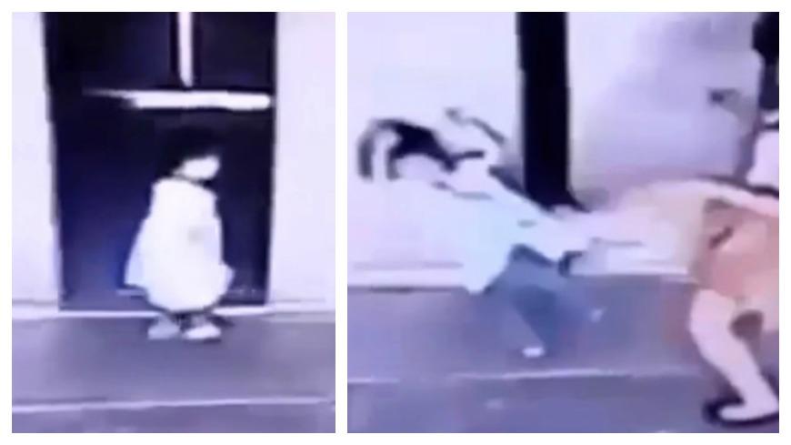 圖/小編搜事YouTube 女兒快被電梯夾住 勇母「一腳踹飛」救命