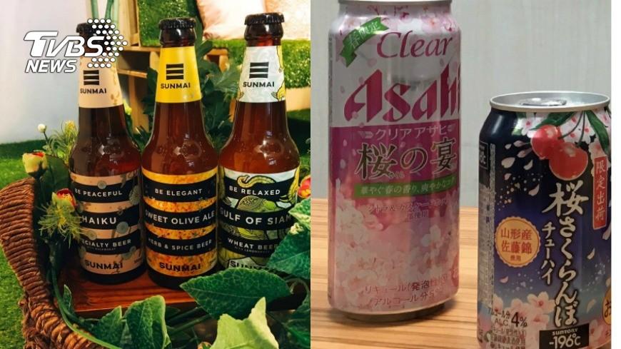 全家提供(右) 春遊配啤酒最對味 桂花、櫻花打造浪漫