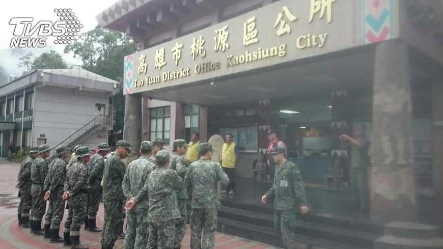 圖/中央社 山區暴雨 國軍預置高雄45處機具人力