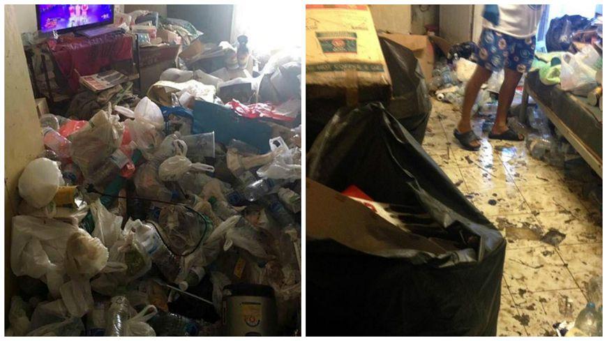 圖/泰國星暹傳媒微博,下同。 噁…「撥開」垃圾才能進屋 房東震怒:給我滾!