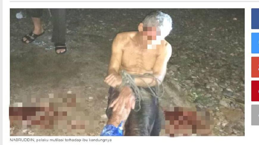 印尼雅加達發生一起駭人的弒母案,男子把母親割喉後還將屍體肢解還剝皮。(圖/翻攝自Tribunnews) 遭2任妻子拋棄 逆子弒母割喉還分屍剝皮