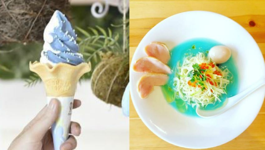 翻攝/海遊館、吉法師Instagram 超酷顛覆想像!霜淇淋、拉麵全都染上天空藍