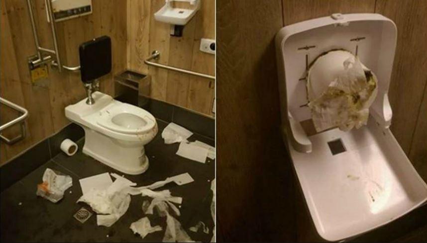 四度破壞廁所,還將屎尿塞入衛生紙捲筒中。(圖/昕境廣場臉書)