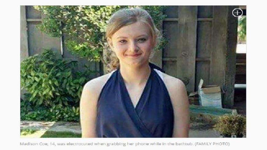 美國一名14歲少女在泡澡時使用手機,結果觸電身亡。(圖/翻攝自紐約每日新聞) 浴缸泡澡用手機 14歲少女觸電身亡