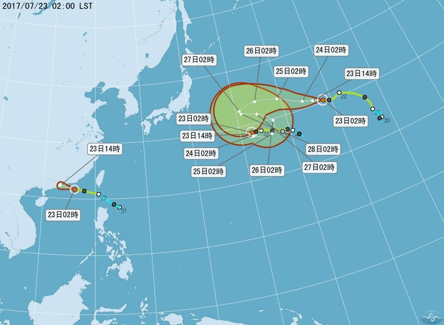 太平洋海面目前有3個颱風。圖/翻攝自中央氣象局網站 月底將有颱風橫越台灣 李富城示警:盡早做好防颱