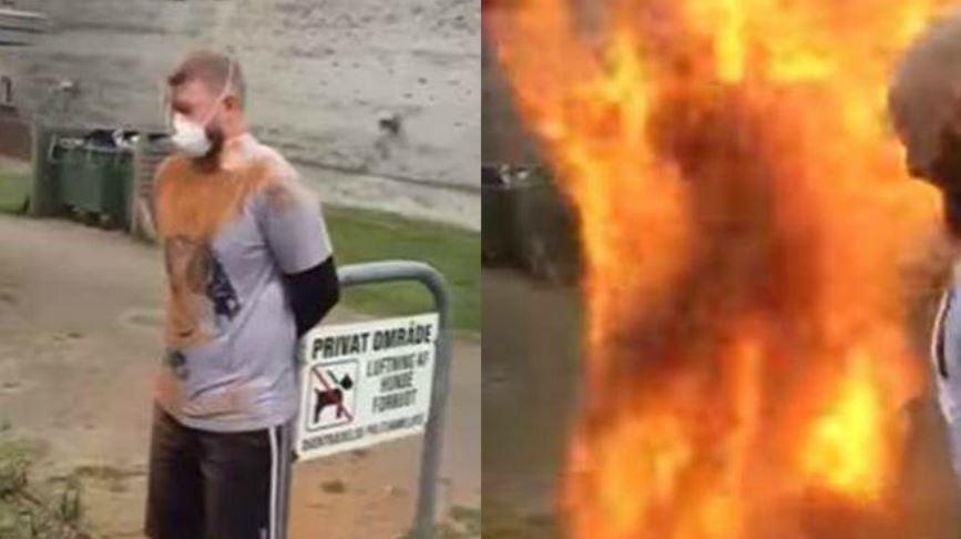 男子日前慶生時,意外成了「火球人」。翻攝/YouTube 影/真的「玩過火」!慶生狂撒肉桂粉 壽星「燒成火柱」
