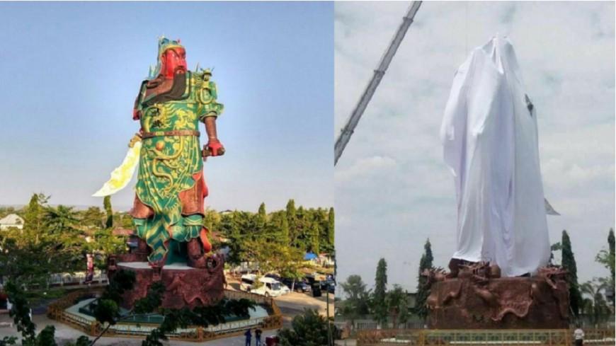 關公像印尼落難 穆斯林蓋白布要求拆除