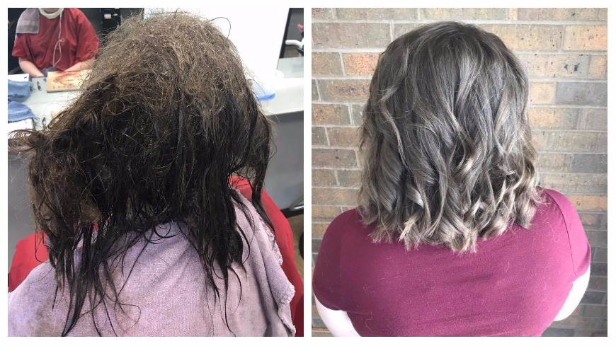 圖/取自Kayley Olsson臉書 重度憂鬱女無心整理髮 設計師花13小時讓她重生
